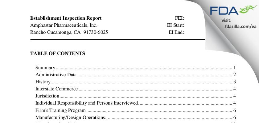 Amphastar Pharmaceuticals FDA inspection 483 Feb 2013