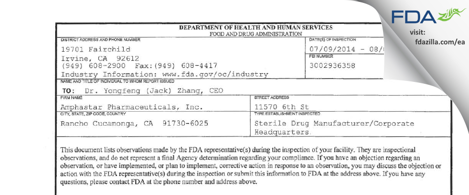 Amphastar Pharmaceuticals FDA inspection 483 Aug 2014