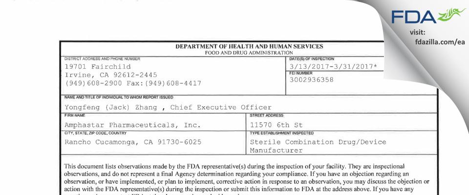 Amphastar Pharmaceuticals FDA inspection 483 Mar 2017