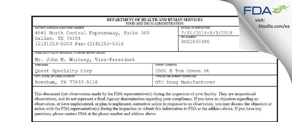 Quest Specialty FDA inspection 483 Aug 2018