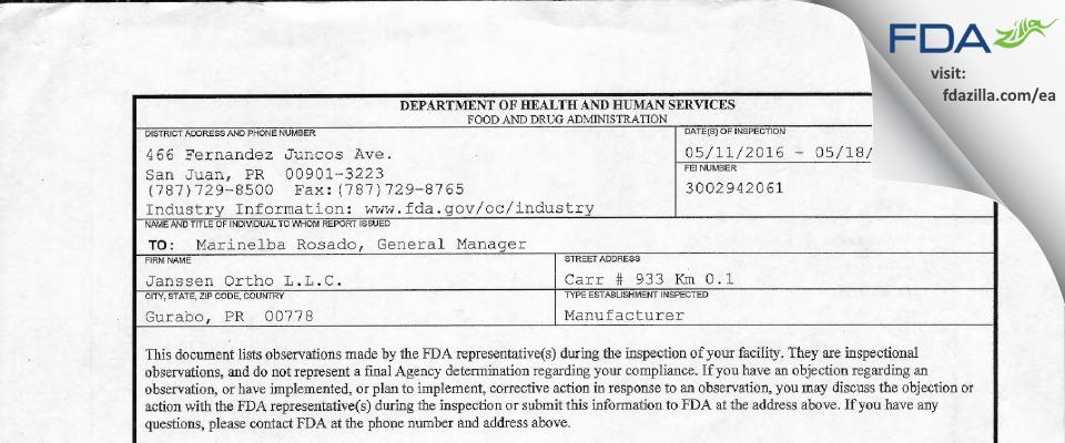 Janssen Ortho FDA inspection 483 May 2016