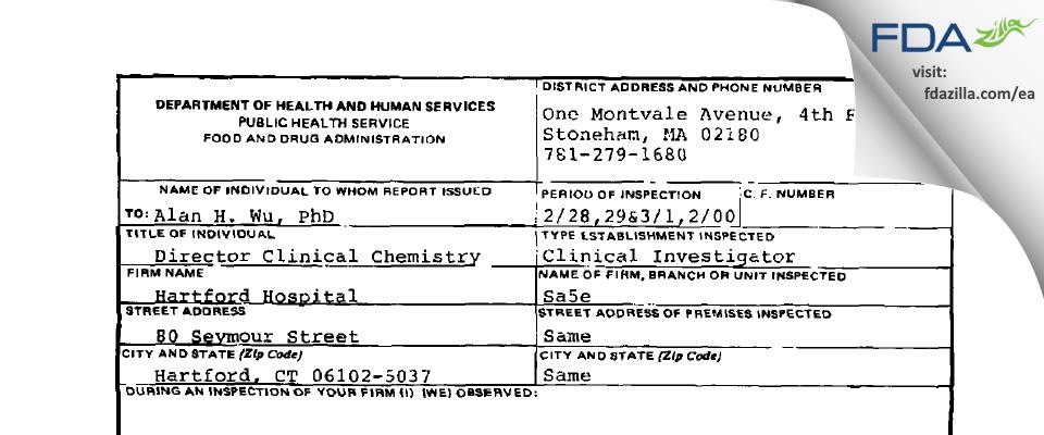 Alan H.B. Wu., Ph.D. FDA inspection 483 Mar 2000