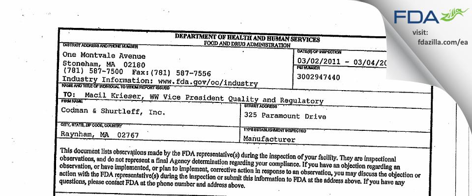 Codman & Shurtleff FDA inspection 483 Mar 2011
