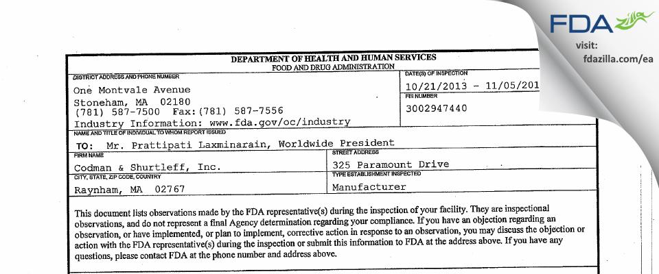 Codman & Shurtleff FDA inspection 483 Nov 2013