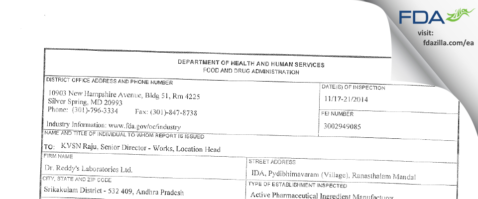 Dr. Reddy's Labs Limited CTO VI FDA inspection 483 Nov 2014