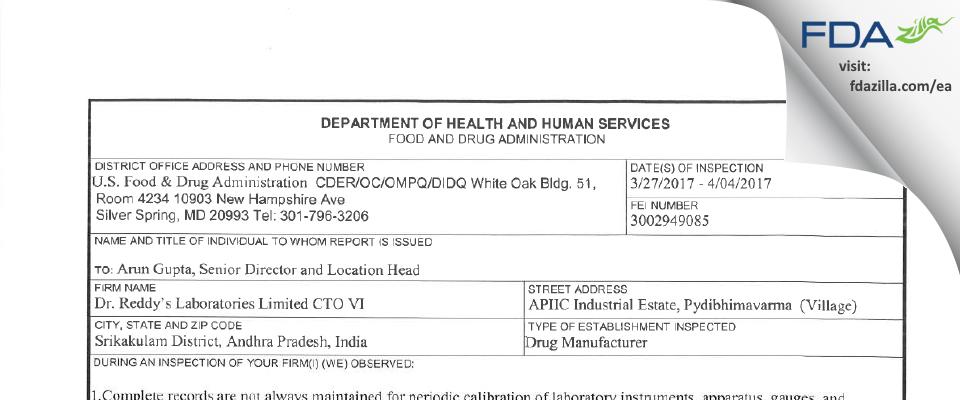 Dr. Reddy's Labs Limited CTO VI FDA inspection 483 Apr 2017