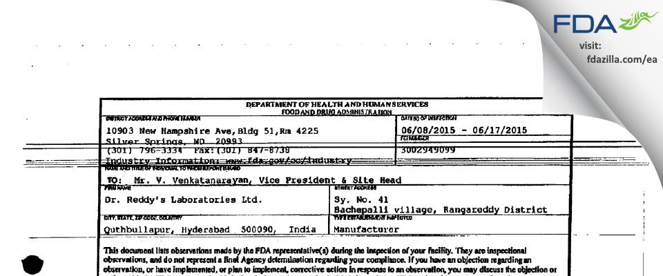 Dr. Reddy's Labs FDA inspection 483 Jun 2015