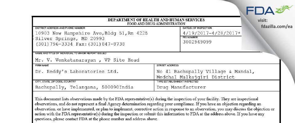 Dr. Reddy's Labs FDA inspection 483 Apr 2017