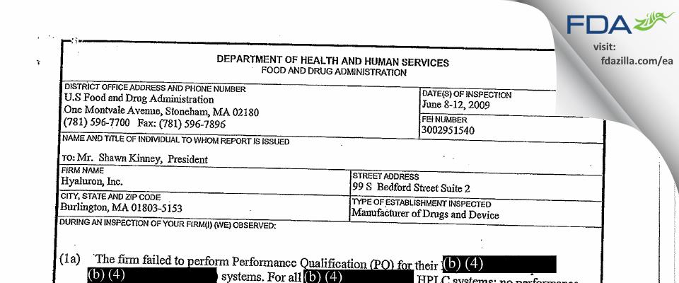 Albany Molecular Research FDA inspection 483 Jun 2009