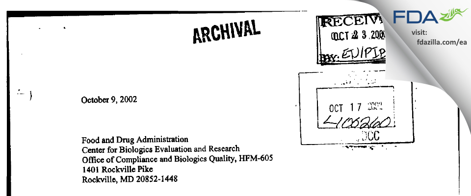 Baxter AG FDA inspection 483 Sep 2002