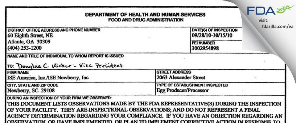 ISE Newberry FDA inspection 483 Oct 2010