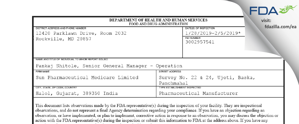 Sun Pharmaceutical Medicare Limited (Baska I) FDA inspection 483 Feb 2019