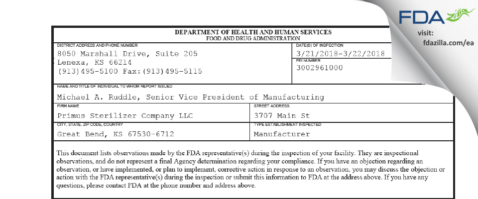Primus Sterilizer Company FDA inspection 483 Mar 2018