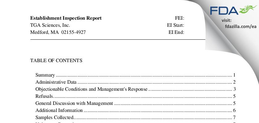 TGA Sciences FDA inspection 483 Mar 2015