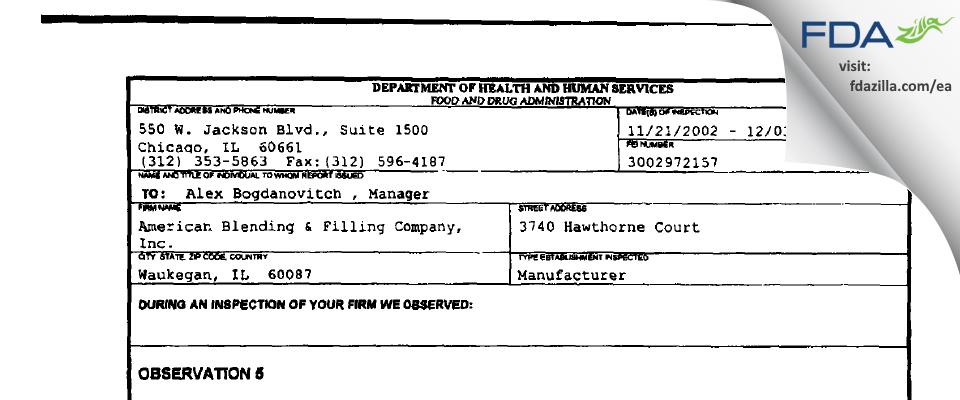 American Blending & Filling Company FDA inspection 483 Dec 2002