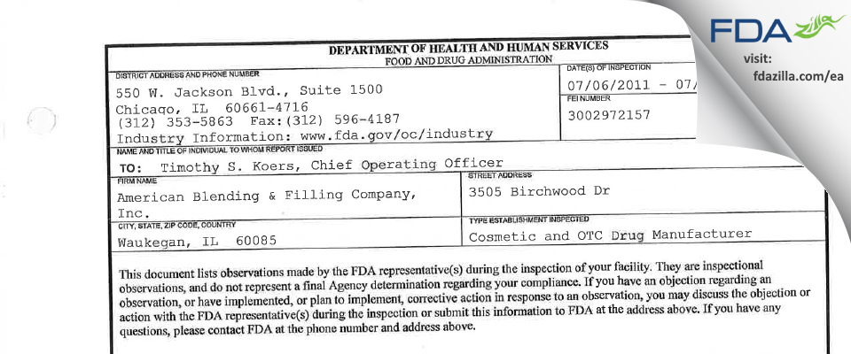 American Blending & Filling Company FDA inspection 483 Jul 2011