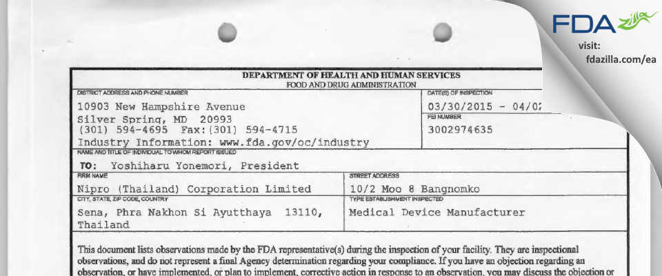 Nipro (Thailand) FDA inspection 483 Apr 2015