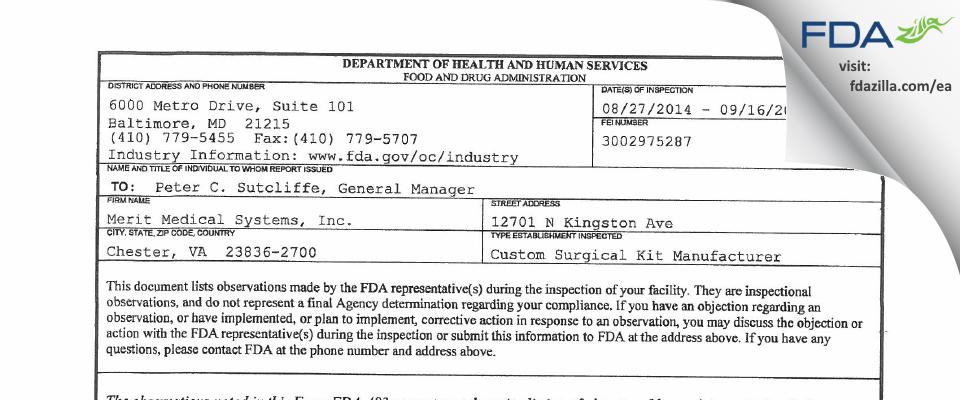 Merit Medical Systems FDA inspection 483 Sep 2014