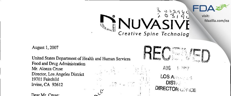 NuVasive FDA inspection 483 Jul 2007