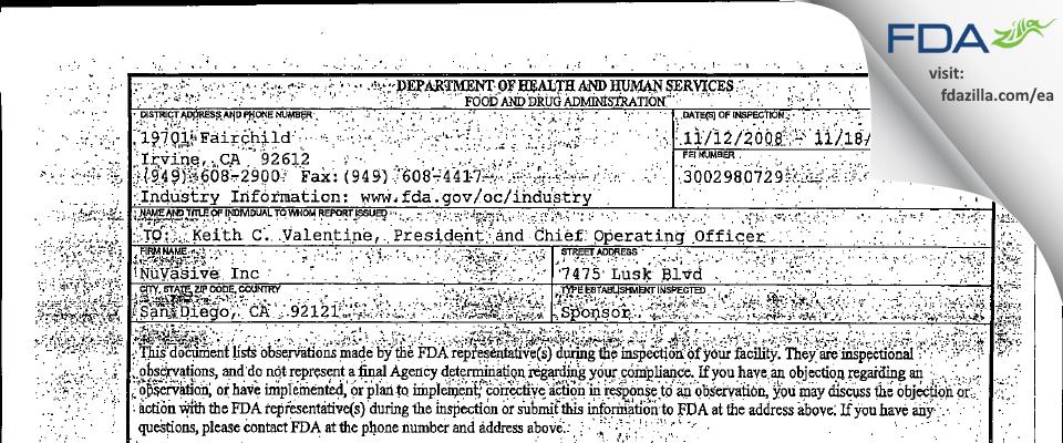 NuVasive FDA inspection 483 Dec 2008