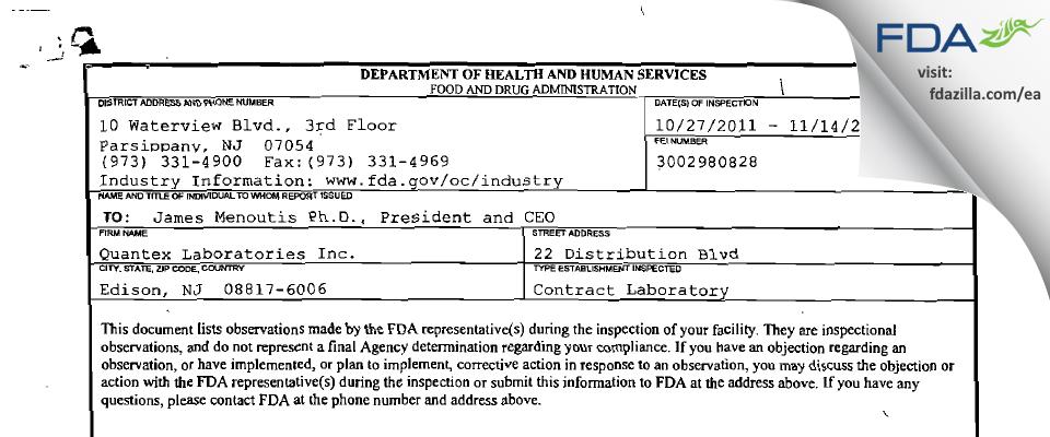 Quantex Labs FDA inspection 483 Nov 2011