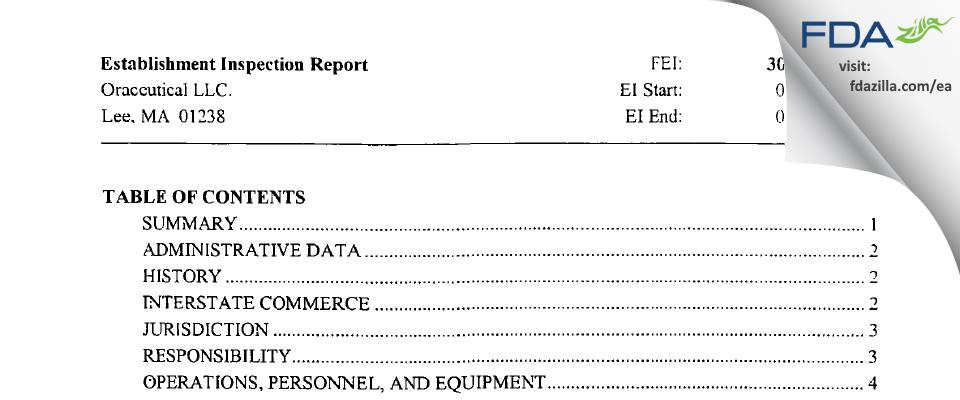 Oraceutical FDA inspection 483 Jul 2003