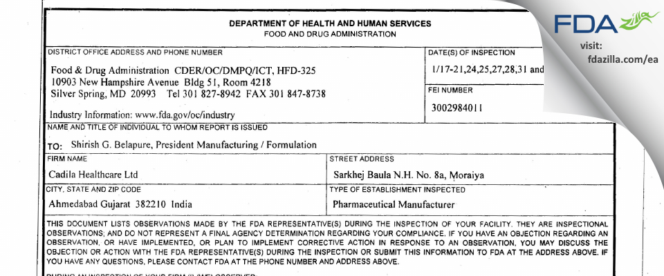 Cadila Healthcare FDA inspection 483 Feb 2011