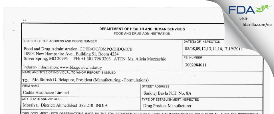 Cadila Healthcare FDA inspection 483 Aug 2013