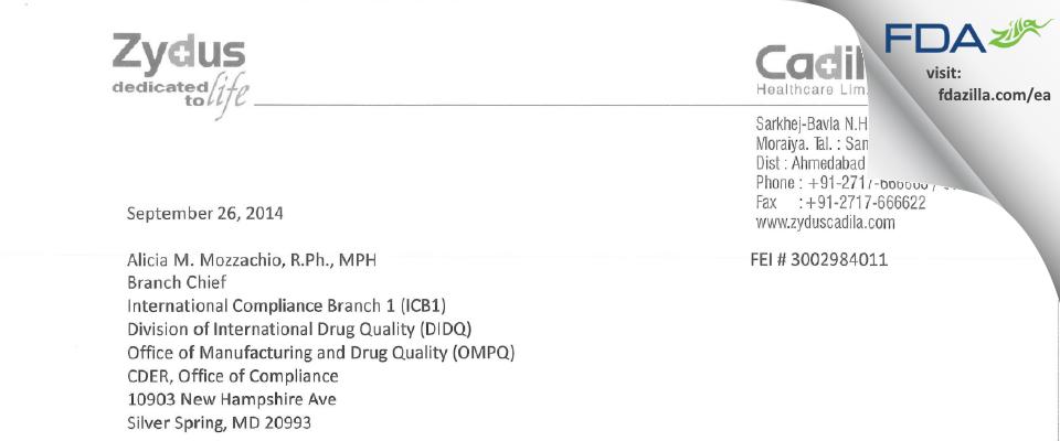 Cadila Healthcare FDA inspection 483 Sep 2014