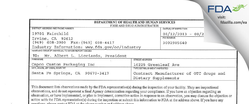 Capco Custom Packaging FDA inspection 483 Aug 2013