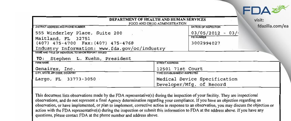 Genairex FDA inspection 483 Mar 2012