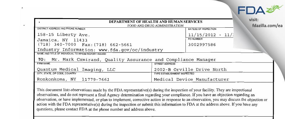 Quantum Medical Imaging FDA inspection 483 Nov 2012