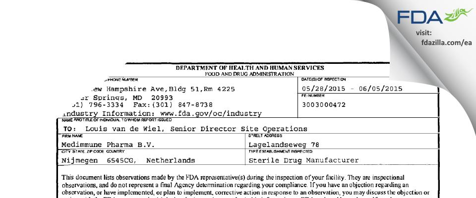 Medimmune Pharma B.V. FDA inspection 483 Jun 2015