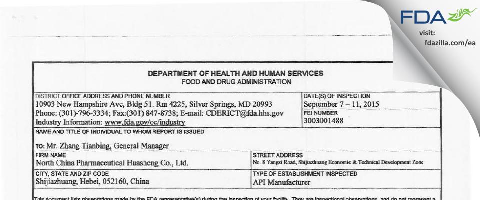 North China Pharmaceutical Huasheng FDA inspection 483 Sep 2015