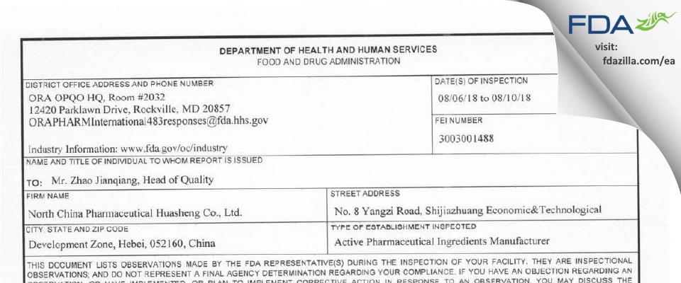 North China Pharmaceutical Huasheng FDA inspection 483 Aug 2018