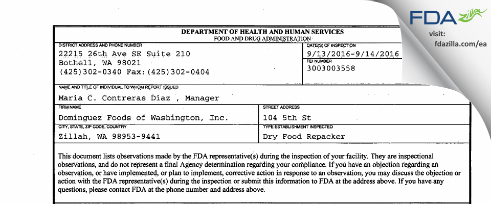 Dominguez Foods of Washington FDA inspection 483 Sep 2016