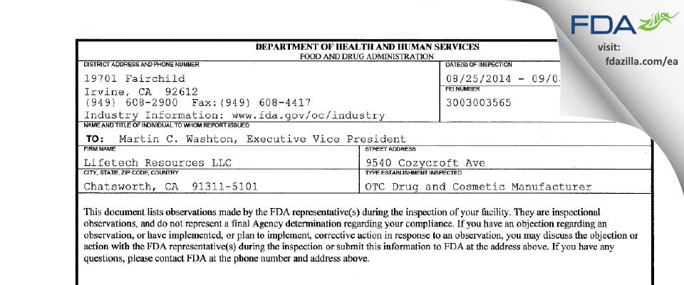 Lifetech Resources FDA inspection 483 Sep 2014