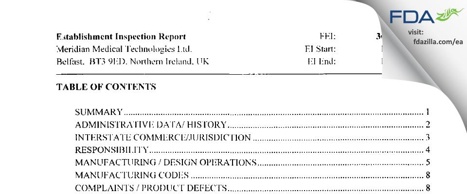 Meridian Medical Technologies FDA inspection 483 Oct 2003
