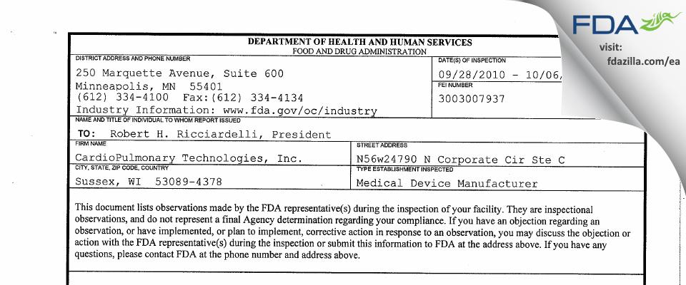 Treymed FDA inspection 483 Oct 2010