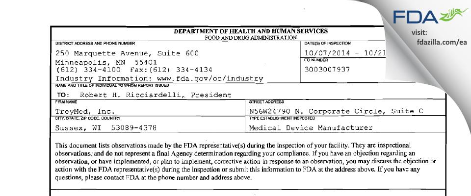 Treymed FDA inspection 483 Oct 2014
