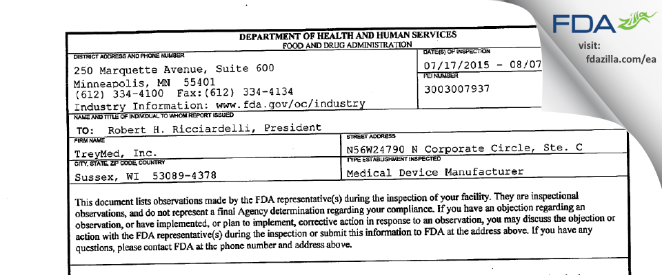 Treymed FDA inspection 483 Aug 2015