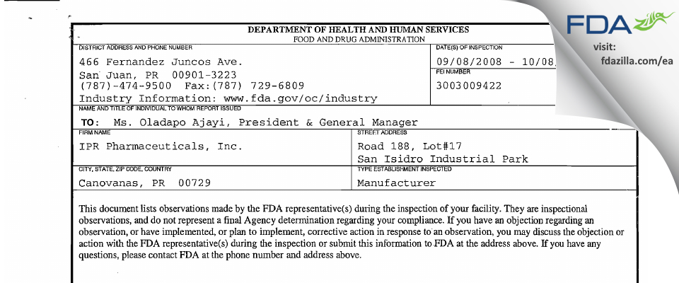 IPR Pharmaceuticals FDA inspection 483 Oct 2008