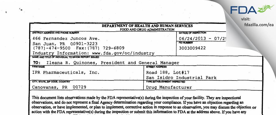IPR Pharmaceuticals FDA inspection 483 Jul 2013
