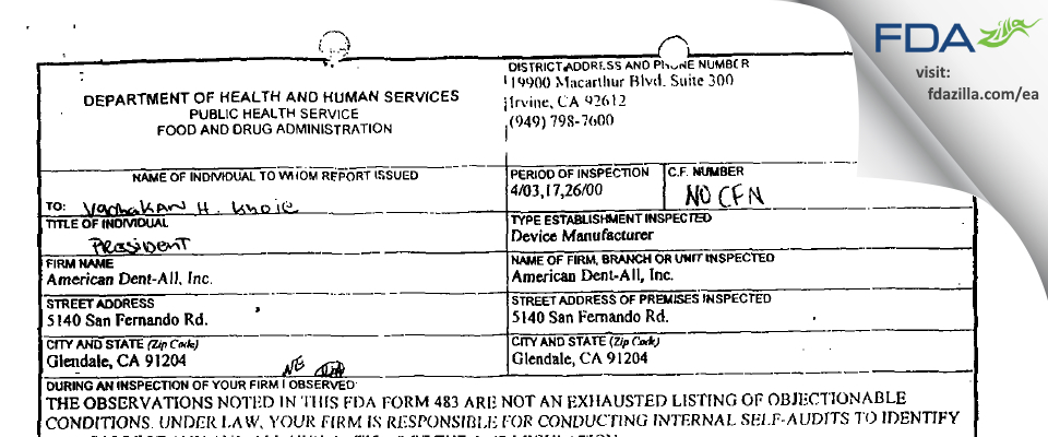 American Dent-all FDA inspection 483 Apr 2000