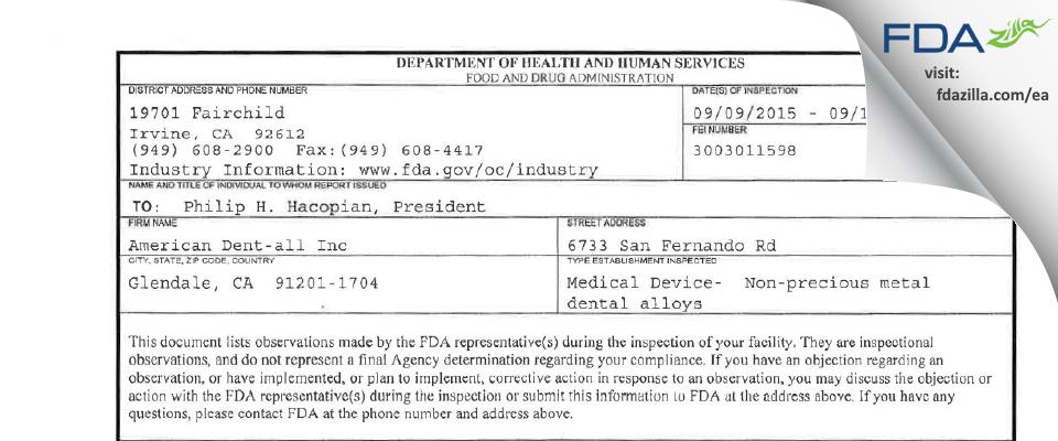American Dent-all FDA inspection 483 Sep 2015