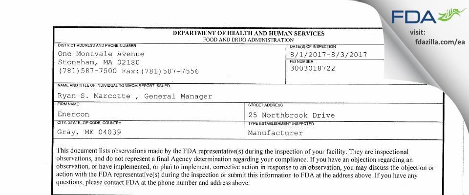 Enercon FDA inspection 483 Aug 2017