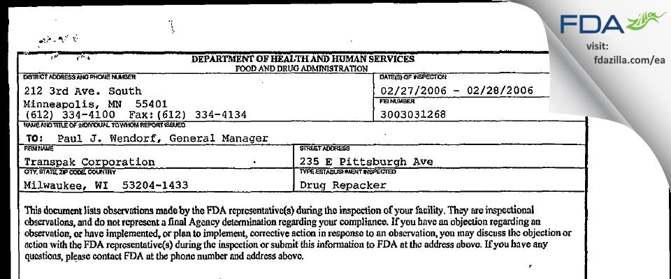 Transpak FDA inspection 483 Feb 2006