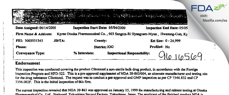 Kprea Otsuka Pharmaceutical FDA inspection 483 May 2000