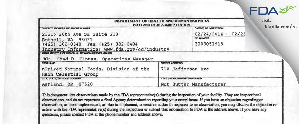 nSpired Natural Foods a Div. of The Hain Celestial Group FDA inspection 483 Feb 2014