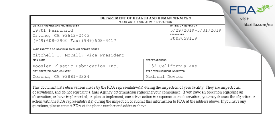 Hoosier Plastic Fabrication FDA inspection 483 May 2019